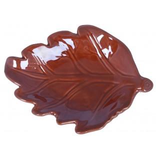 Talerz podstawka czerwony liść ceramiczny 17 cm