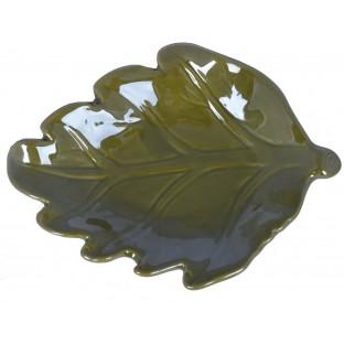 Talerz podstawka zielony liść ceramiczny 17 cm