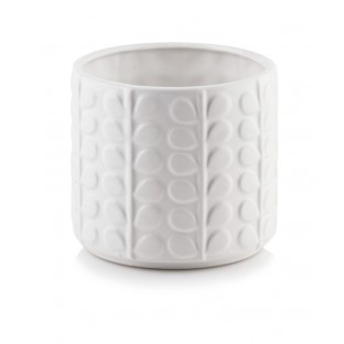 Osłonka doniczka ceramiczna biała w listki 13 cm