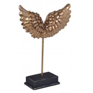 Skrzydła złote figurka rzeźba na podstawie 23,5 cm