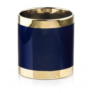 Osłonka doniczka ceramiczna GOLD granatowa złota 13 cm