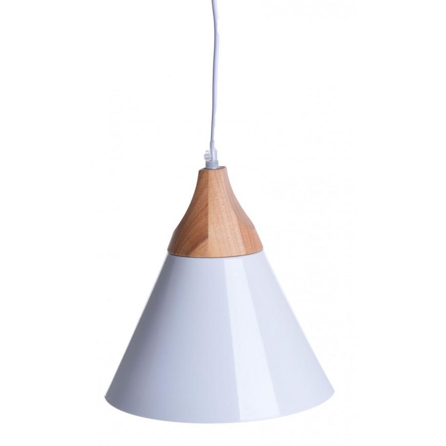 Lampa wisząca czarna z drewnem