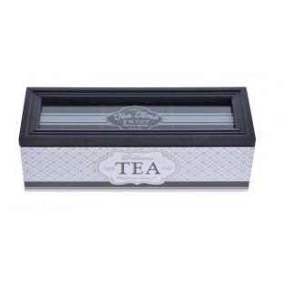 Pudełko na herbatę czarno-białe skrzynka 22 cm