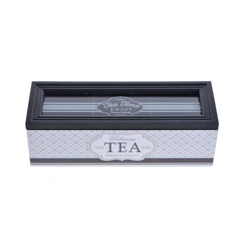 pudełko do herbaty czarno-białe